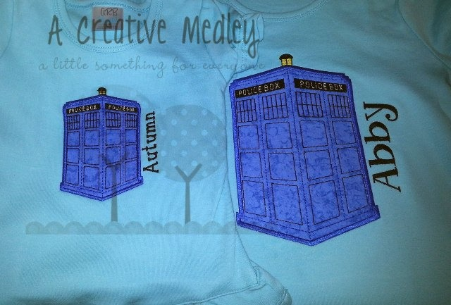 Hello time travel police box applique
