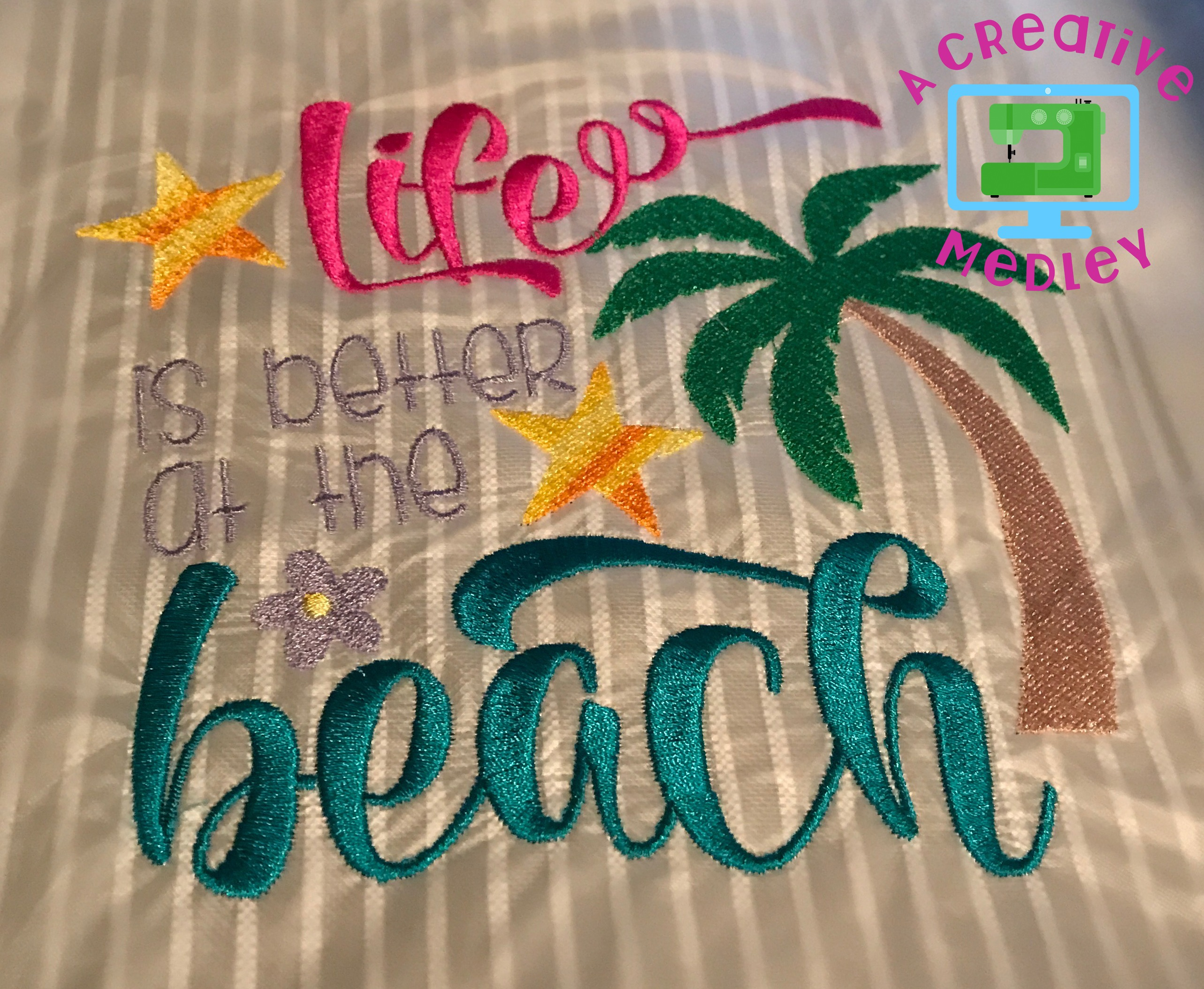 Life is better at the beach for Beach house embroidery design